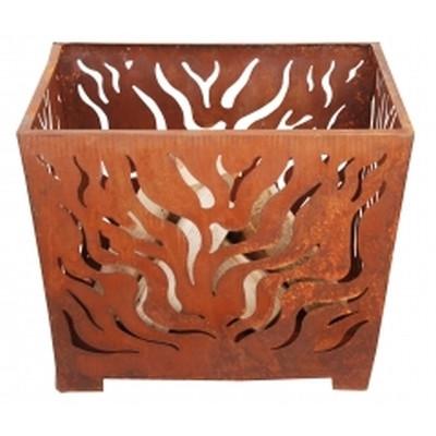 Bålkurv, firkantet, rust medium. 60 x 60 x 45 cm