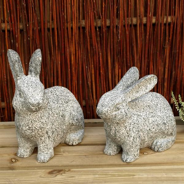 Harepar længde 15 cm  mørkegrå granit
