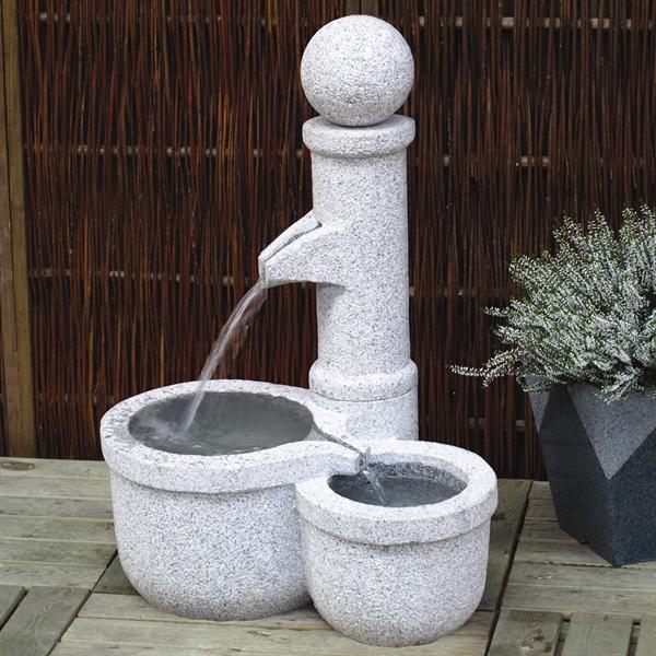Trug med vandpost tvilling højde 80 cm lysegrå granit