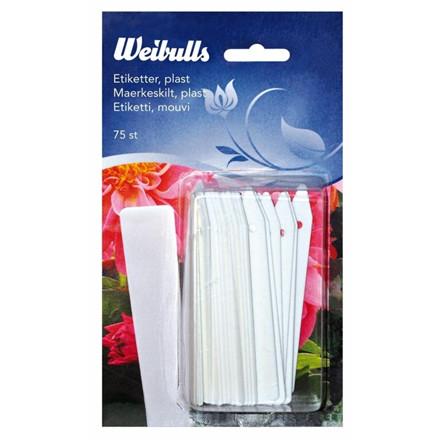 Weibulls Etiketter plast 75 stk. hvide 10 cm. (WB670237)