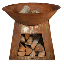 Bålfad med brændeopbevaring størrelse lille. 75 x 75 x 60 cm