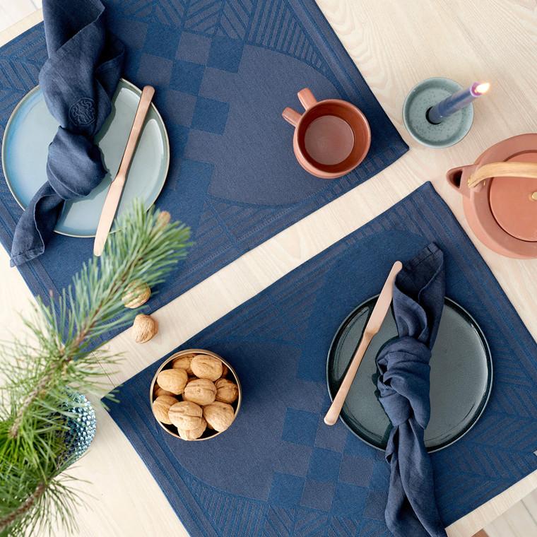 4 Stück WEIHNACHT RUSTIC Tischsets Blue