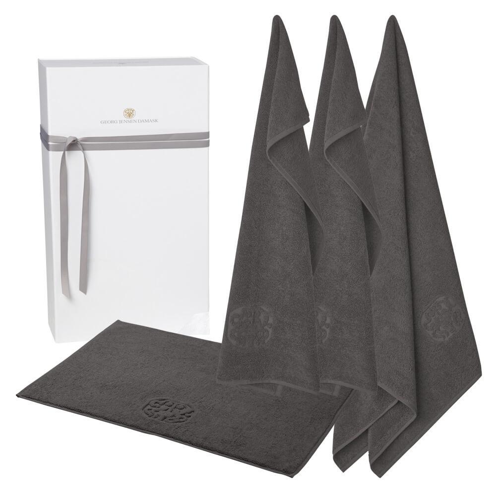 1 stk. badehåndklæde, 2 stk. gæstehåndklæder og 1 stk. bademåtte