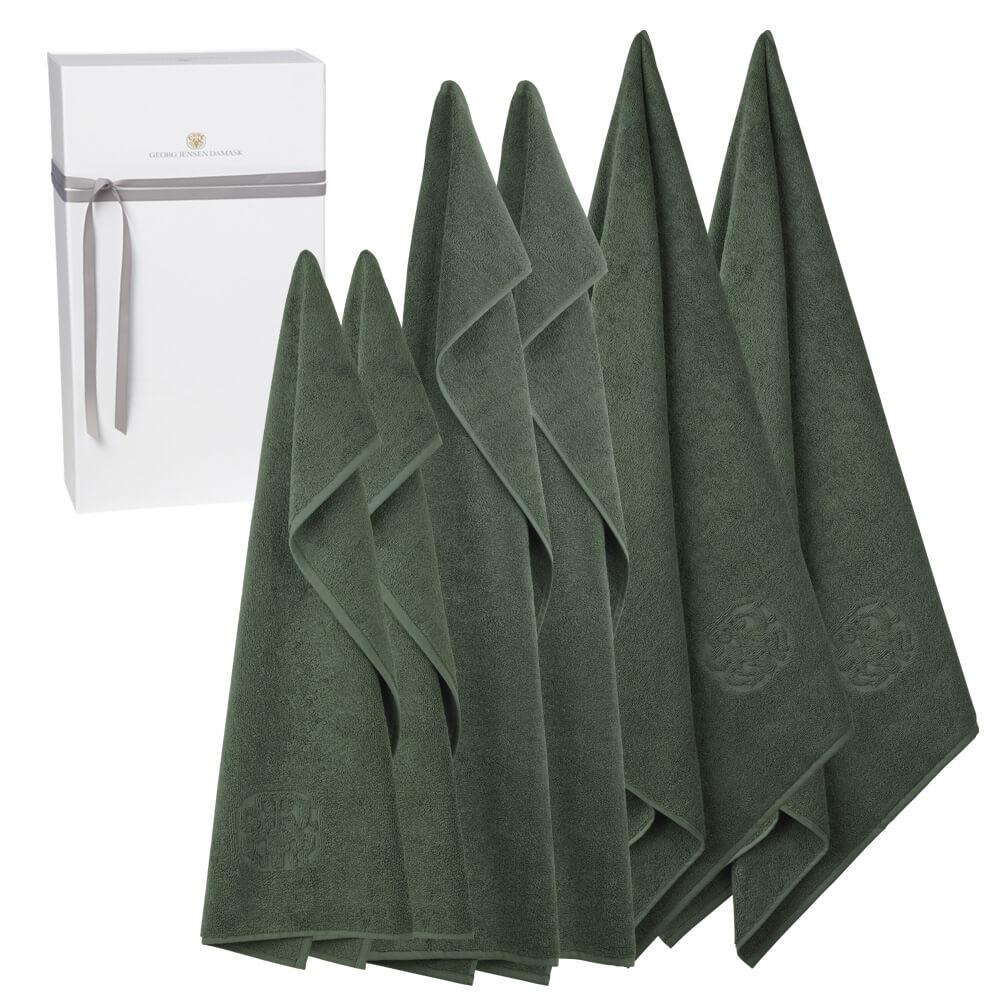 2 stk. gæstehåndklæder, 2 stk. håndklæder og 2 stk. badehåndklæder