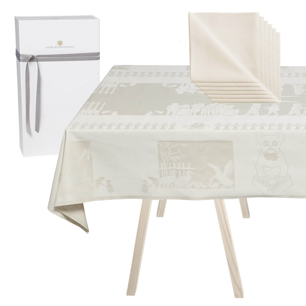 1 H. C. ANDERSEN damask tablecloth and 6 NAPKINS