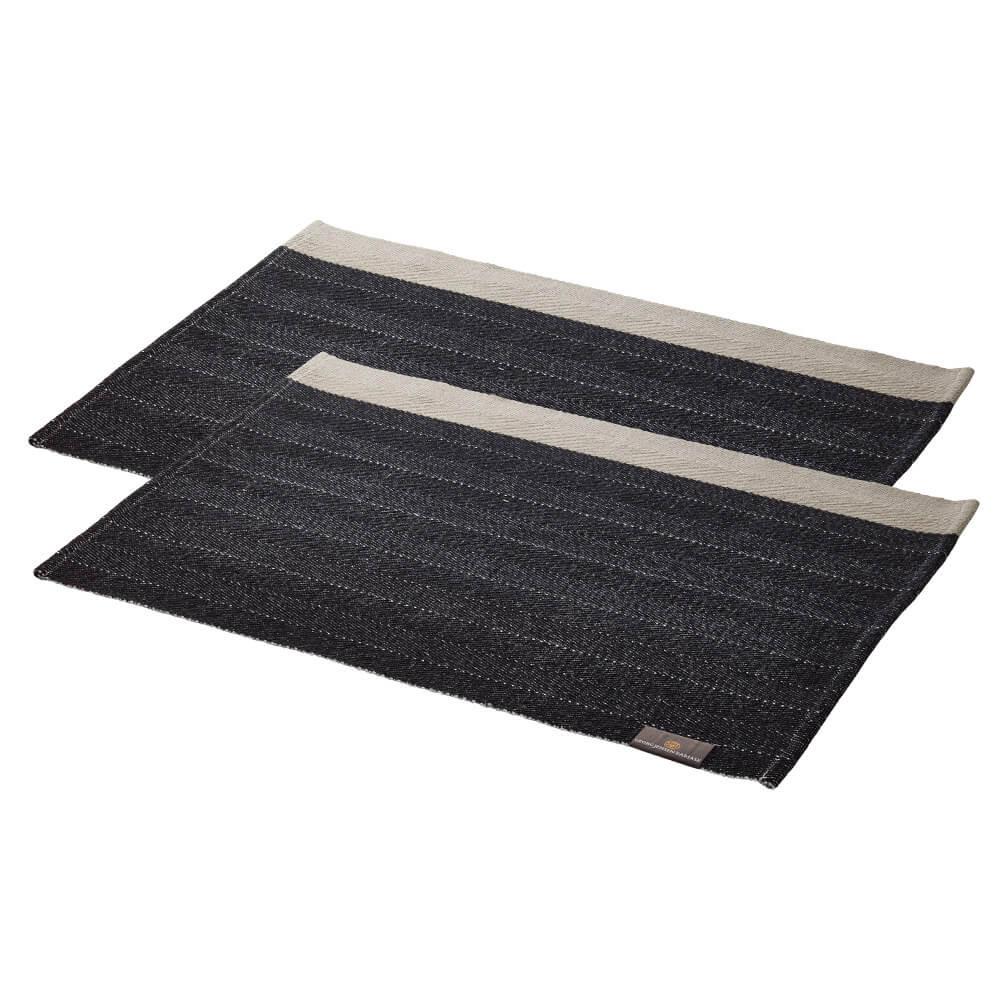 2 Stück HERRINGBONE Tischsets Black