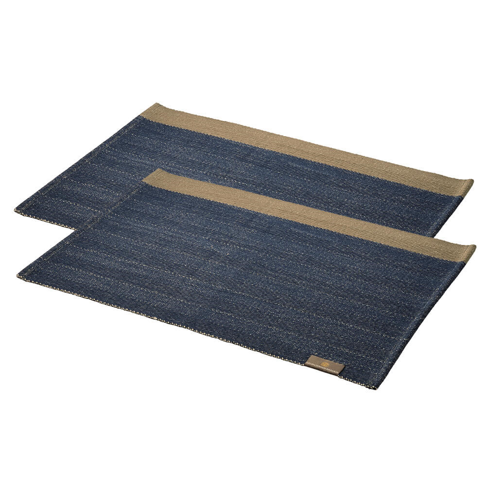 2 pcs HERRINGBONE placemats Deep Blue