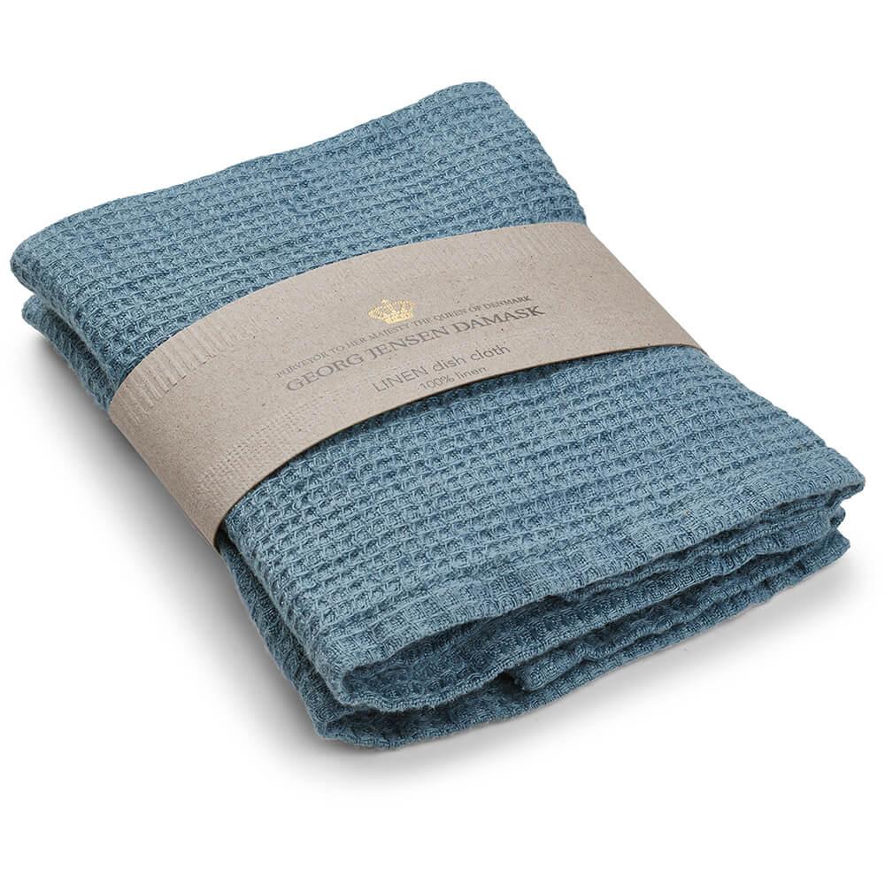 Set of 2 LINEN dishcloth Blue Shadow