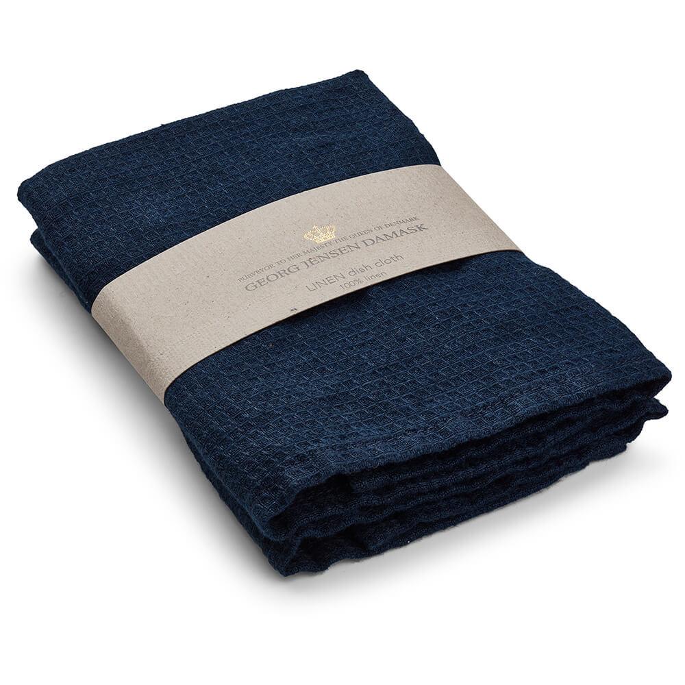 Set of 2 LINEN dishcloth Deep Blue