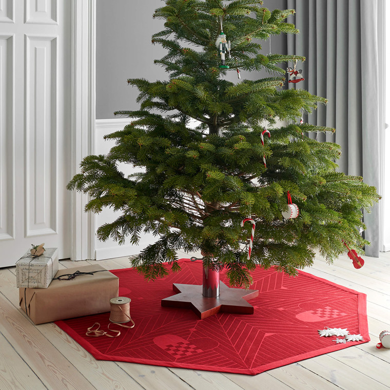 CHRISTMAS OCTAGON tree rug Deep Red