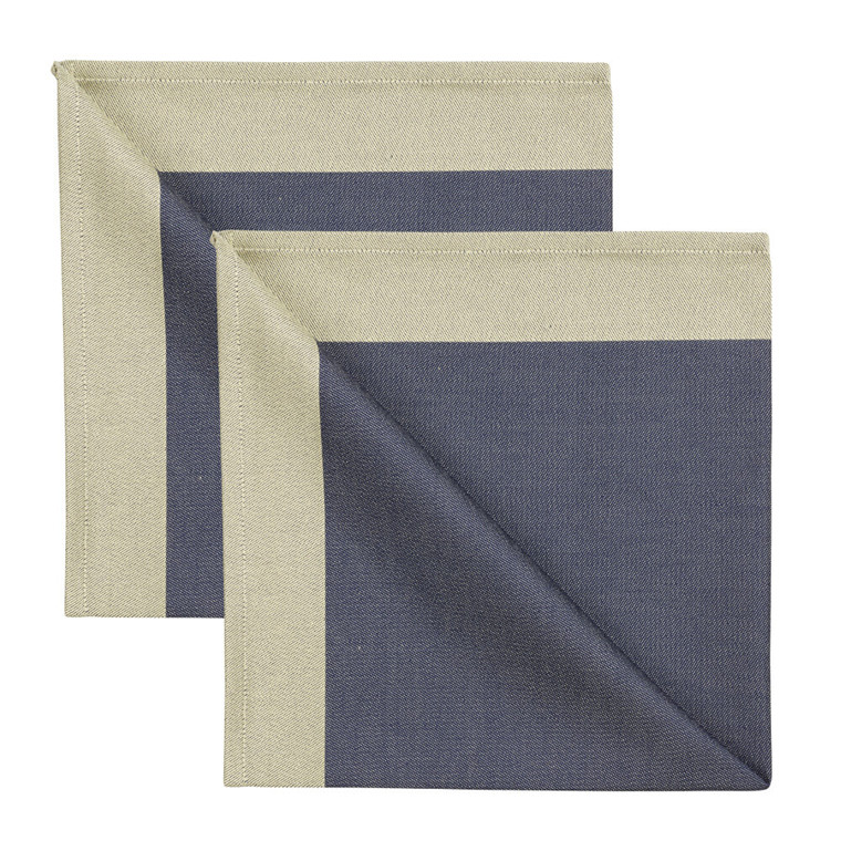 2 pcs Napkins Blue Gold