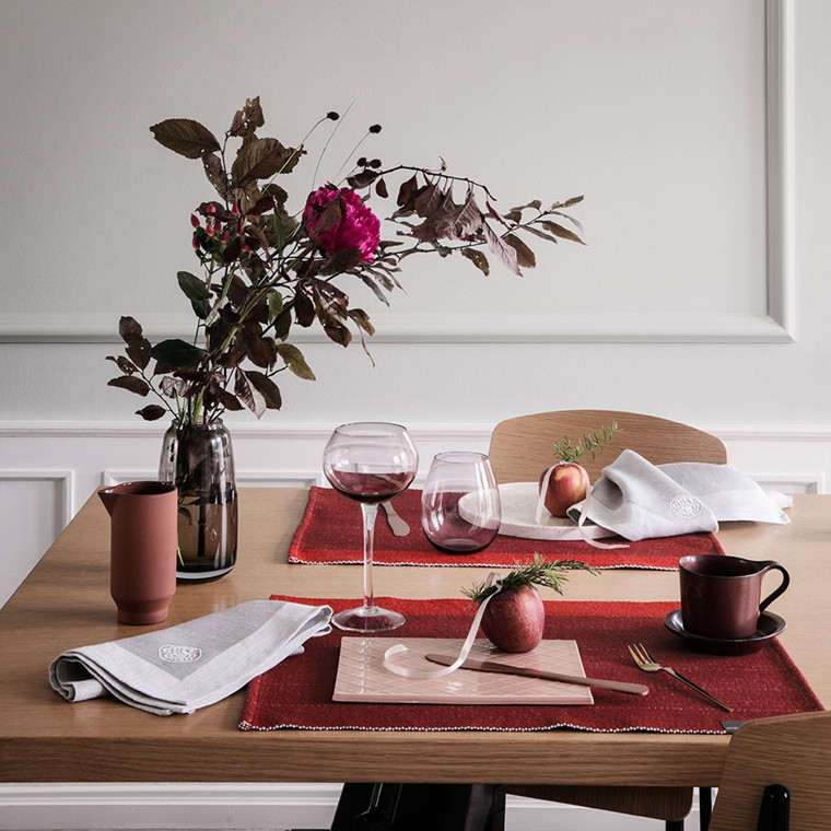 HERRINGBONE placemats Deep Red
