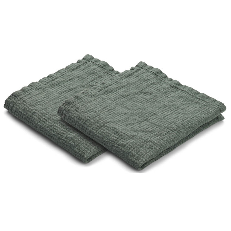 Set of 2 LINEN dishcloth Jade Green