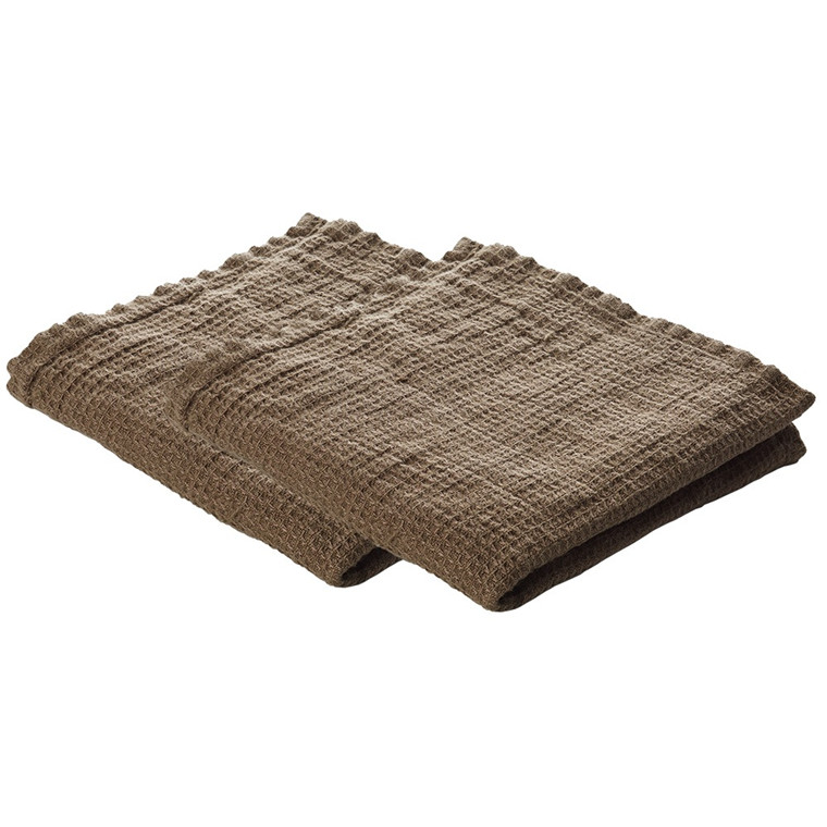 Set of 2 LINEN dishcloth Walnut
