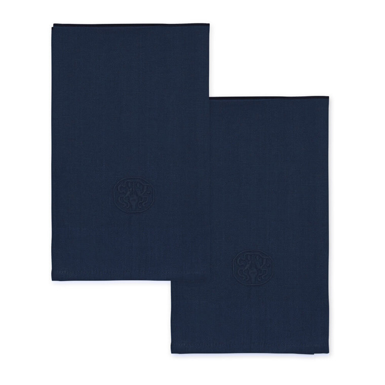 2 pcs PLAIN Deep Blue linen napkin