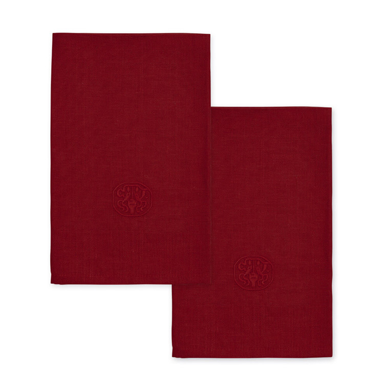 2 pcs PLAIN Deep Red linen napkin