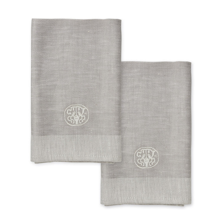 2 pcs PLAIN Grey Linen Napkins
