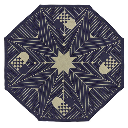 CHRISTMAS OCTAGON tree rug Blue Gold