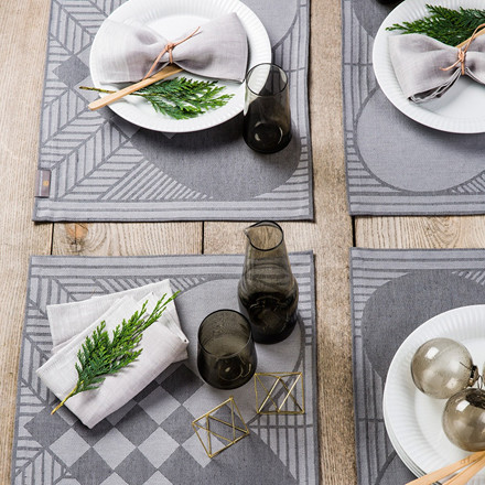 4 pcs CHRISTMAS RUSTIC placemats Light Grey