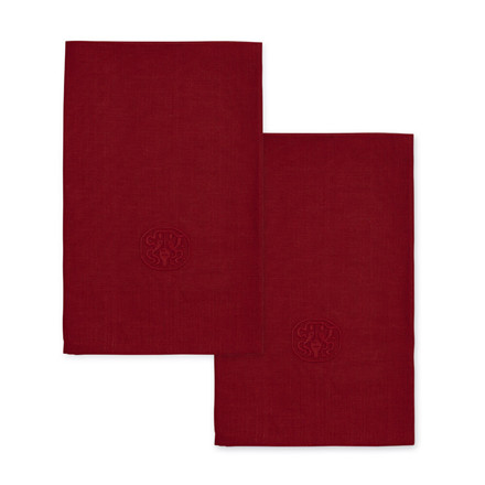 2 Stück  PLAIN Deep Red Leinen Serviette