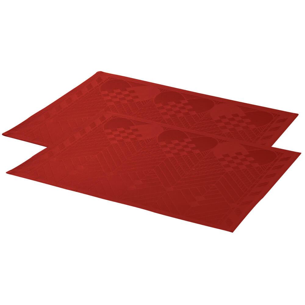 Opdateret Dækkeservietter til jul i dyb rød med julehjerter og grankviste ZL96