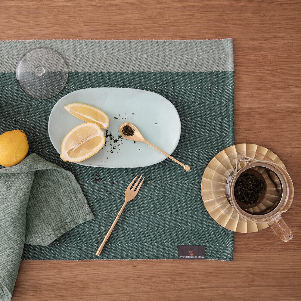 our own design team designed the herringbone placemat with a focus
