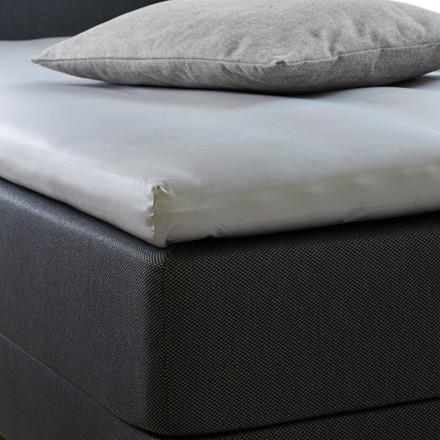 Bedroom Collektion lux kuvertlagen - topmadraslagen bomuldssatin lys grå 90x200x5