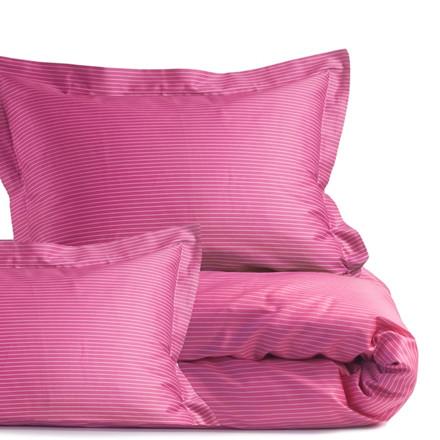 Smalle stripe Pink bomuldssengetøj til dobbeltdyne 200x200