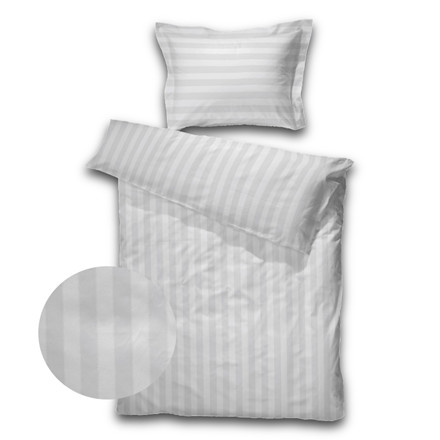 SOPIRE Bambus sengetøj Hotelstrib hvid 140x220