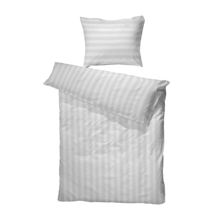 Satinvævet hotelstrib 100% bomuld sengetøj hvid 155x220