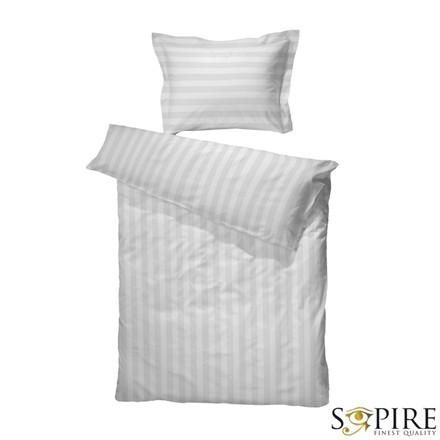 Nicolaj Hotelstrib sengetøj 140x200 Hvid bomuld