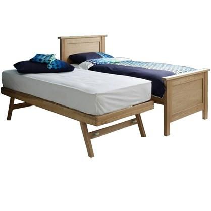 2 i én seng - gæsteseng i olieret eg - Udtræksseng - incl 2 madrasser