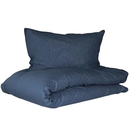 Lykke sengetøj i hør og bomuld 140x200 mørk blå