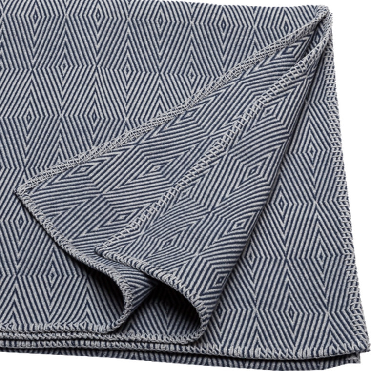 David Fussenegger Plaid Nova Herringbone fancy 140x200 blå