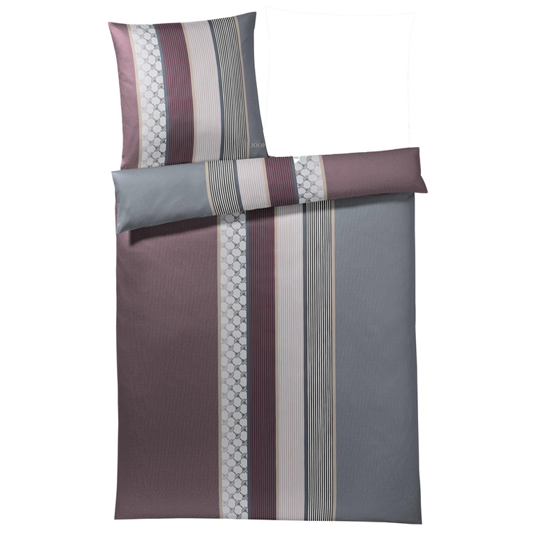 JOOP Sengetøj Cornflower Stripe bordux/grå 135x220