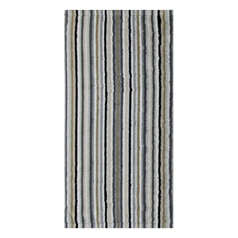Cawö håndklæde Life Style Streifen Kiesel 50x100