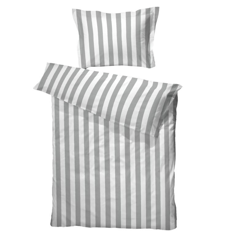 BC Anne sengetøj grå/hvid bomuldssatin 140x200