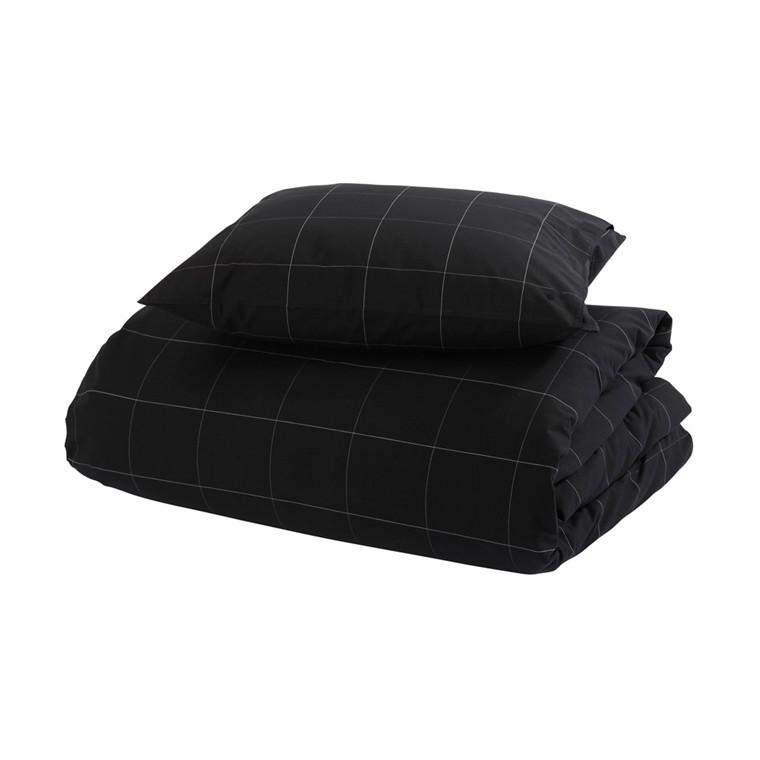 Melisse sort bomulds percale sengetøj 140x220