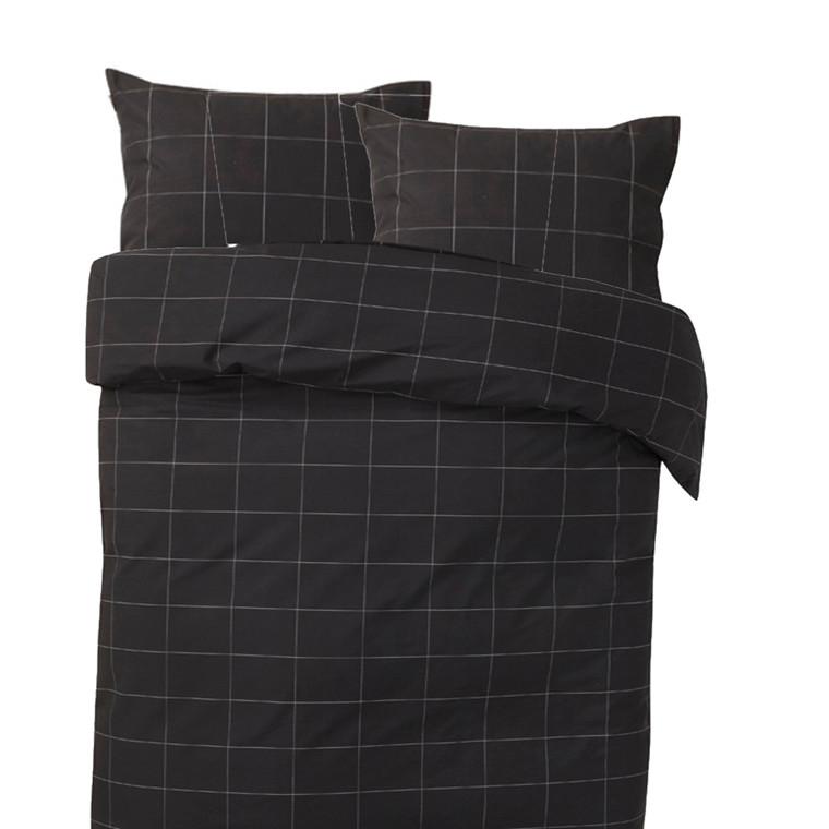 Melisse sort bomulds percale sengetøj 200x220