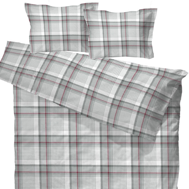 Gusdal flonel sengetøj til dobbeltdyne grå 200x220