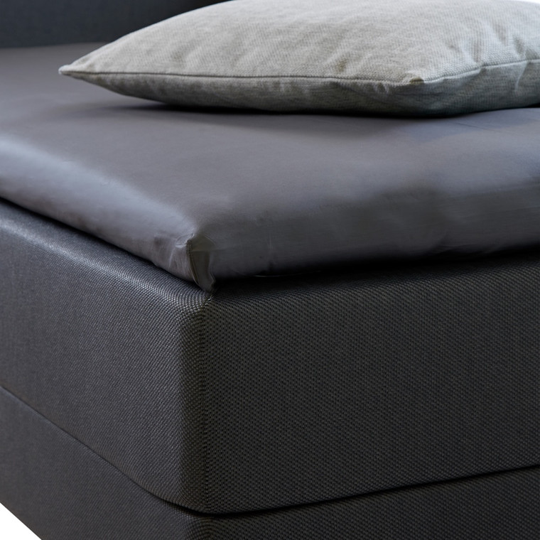 Bedroom Collektion lux kuvertlagen - topmadraslagen bomuldssatin koksgrå  90x200x5