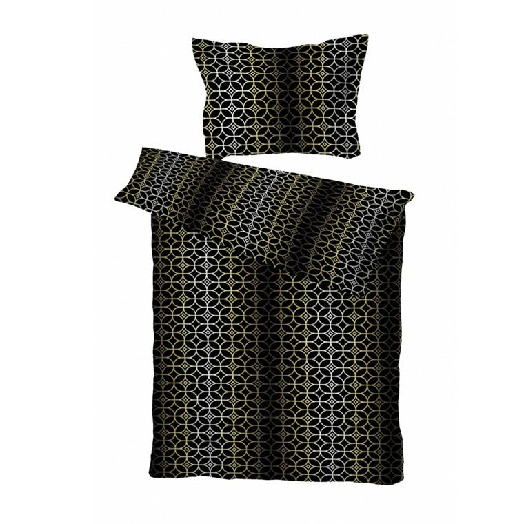 Vilhelm sort/guld bomuldssatin sengetøj 140x200