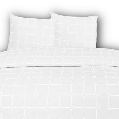 White Carstel bomuldspercale sengetøj til dobbeltdyne TC210 hvid 200x220