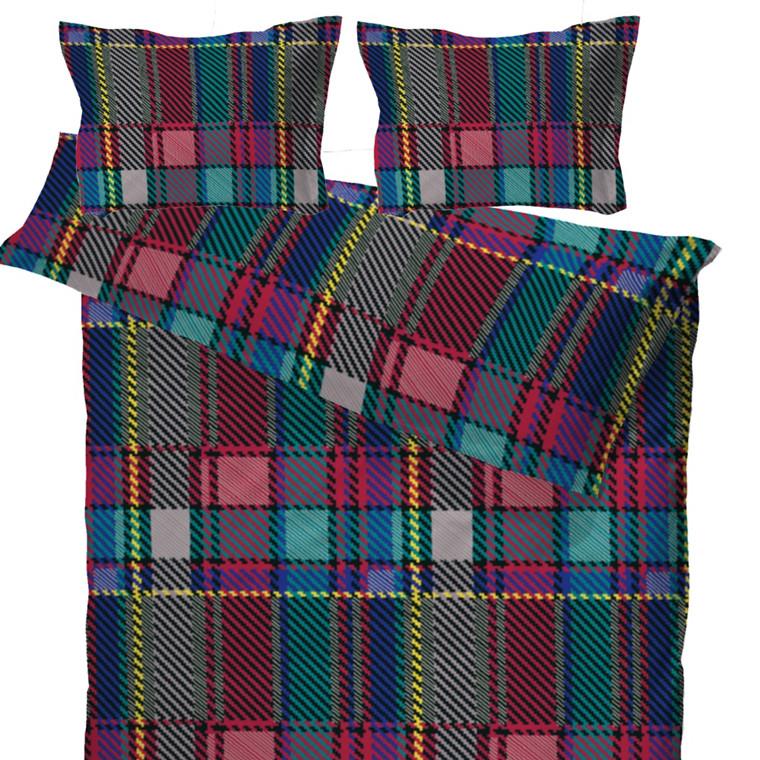 Woven Check multi bomuldssatin sengetøj til dobbeltdyne 200x220