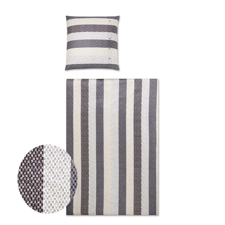 YES Woven Stripes graphit grå popline sengetøj 700/9 135x200