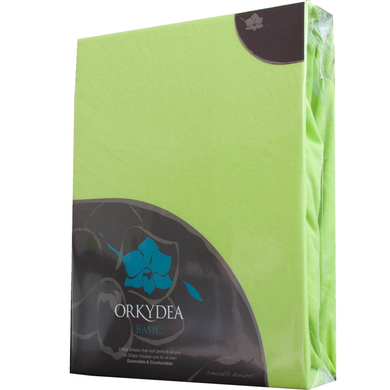 Basic jersey stræklagen 90x200x25 grøn