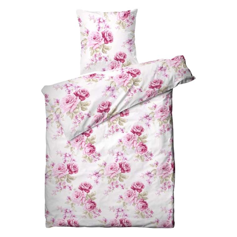 Bonderose bomuldssatin sengetøj 140x220
