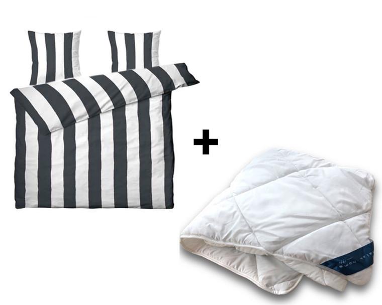 Vaskbar fiber dobbeltdyne incl. Black & White sengetøj 200x220