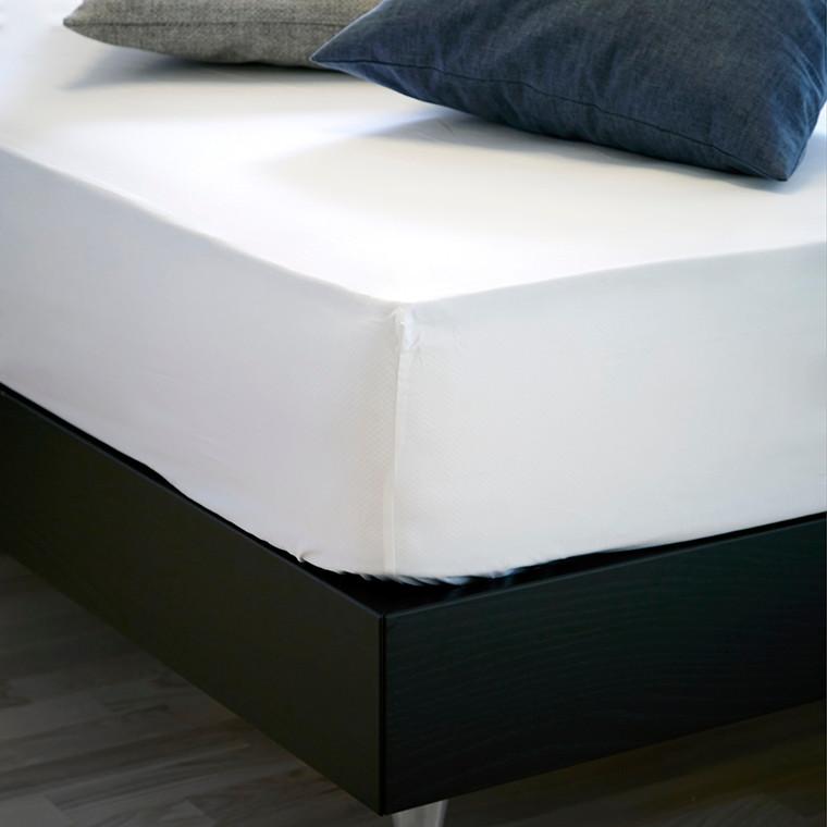Bedroom Collektion faconlagen hvid bomuldssatin 105x210x30
