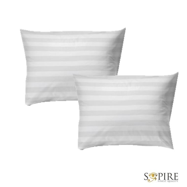 2-pak satinvævet 100% bomuld hotelstrib hovedpudebetræk hvid 50x70